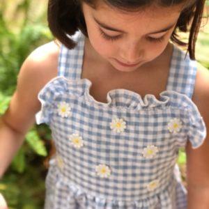 Vestido Vichy Azul MARGARITAS Minabay Kids